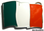 IRISH FLAG BELT BUCKLE + display stand